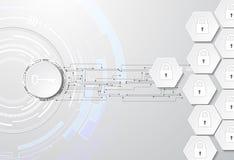 Gegevensbescherming abstracte achtergrond met sleutel en sloten Stock Illustratie