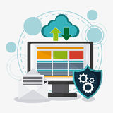 Gegevensbescherming en Cyber-veiligheidssysteem stock illustratie