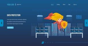 Gegevensbescherming, Internet-veiligheid, bescherming en privacy van persoonlijke informatie vector illustratie