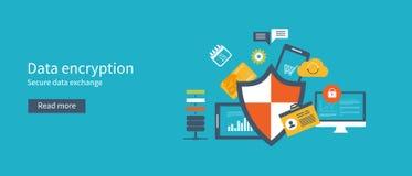 Gegevensbescherming met encryptie veilige gegevens dat wordt geplaatst stock illustratie