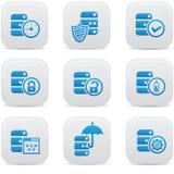 Gegevensbestand, Gegevenscentrum, en de pictogrammen van de Gegevensopslag, blauwe versie Royalty-vrije Stock Foto's