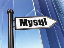 Gegevensbestandconcept: teken MySQL bij de Bouw van achtergrond Stock Afbeelding