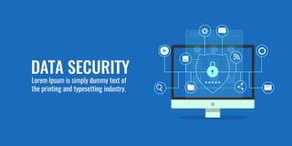 Gegevensbeveiliging, cyber bescherming, gegevenscentrum, GDPR-concept Vlakke ontwerp vectorbanner Royalty-vrije Stock Afbeeldingen