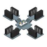 Gegevenscentrum, serverruimten, gegevens - verwerking royalty-vrije illustratie