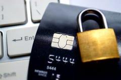 Gegevensencryptie op creditcard Stock Foto