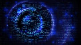 Gegevensserie, matrijs abstracte cyberspace met binaire code, futuristische achtergrond met cirkelgolven, firewall, de wolkendien stock illustratie