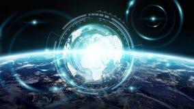 Gegevensuitwisseling en mondiaal net over wereld het 3D teruggeven Stock Afbeeldingen