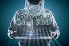 Gegevensverwerking en het binnendringen in een beveiligd computersysteem concept royalty-vrije stock foto