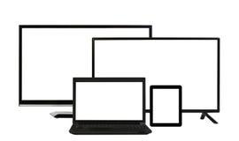 Gegevensverwerkingsconcept - veel verschillende geïsoleerde monitors Royalty-vrije Stock Afbeelding