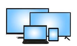 Gegevensverwerkingsconcept - veel verschillende geïsoleerde monitors Royalty-vrije Stock Fotografie