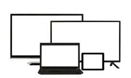 Gegevensverwerkingsconcept - veel verschillende geïsoleerde monitors Stock Fotografie