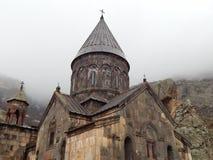 Geghard - een middeleeuws klooster in Armenië stock foto's