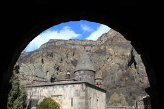 Geghard Monastery. Geghard is ancient Armenian monastery, partly carved out of a mountain Royalty Free Stock Images