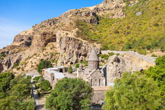 Geghard Monastery, Armenia. Geghard is a medieval monastery in the Kotayk province of Armenia, carved out of the adjacent mountain. It is listed as a UNESCO stock images