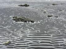 Gegolft zwart zand, modder, rots, Hvitserkur, IJsland Royalty-vrije Stock Afbeeldingen