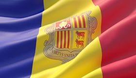 Gegolfte hoogst gedetailleerde close-upvlag van Andorra 3D Illustratie vector illustratie