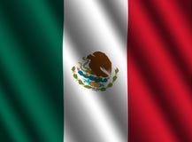 Gegolfte Mexicaanse vlagachtergrond royalty-vrije illustratie