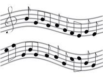 Gegolfte muzieknota's Stock Afbeelding