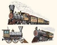 Gegraveerde die wijnoogst, hand, oude locomotief of trein met stoom op Amerikaanse spoorweg wordt getrokken Retro vervoer royalty-vrije illustratie