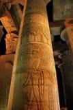 Gegraveerde kolom in de tempel van kom-Ombo, Egypte Stock Foto's