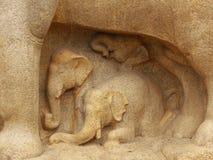 Gegraveerde olifanten Stock Afbeelding