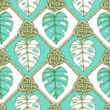 Gegraveerde palmbladen en kabel Royalty-vrije Stock Fotografie