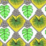 Gegraveerde palmbladen en kabel Stock Afbeeldingen