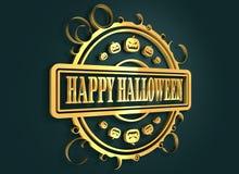 Gegraveerde zegel met Gelukkige Halloween-teksten Stock Foto's