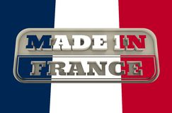 Gegraveerde zegel met gemaakt in de tekst van Frankrijk Stock Foto's