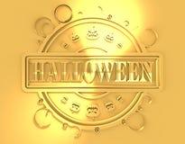 Gegraveerde zegel met Halloween-tekst Stock Foto's