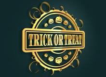 Gegraveerde zegel met Halloween-tekst Royalty-vrije Stock Afbeelding