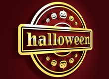 Gegraveerde zegel met Halloween-tekst Stock Foto