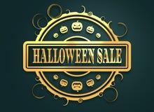 Gegraveerde zegel met Halloween-Verkooptekst Stock Afbeeldingen