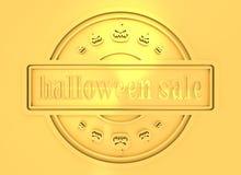 Gegraveerde zegel met Halloween-Verkooptekst Royalty-vrije Stock Afbeeldingen