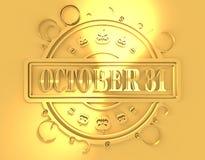 Gegraveerde zegel met 31 Oktober tekst Stock Fotografie