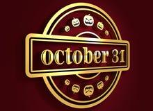 Gegraveerde zegel met 31 Oktober tekst Royalty-vrije Stock Afbeelding