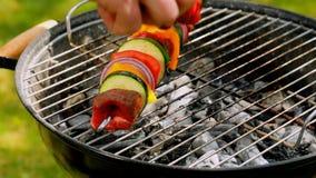 Gegrillte Aufsteckspindeln mit Gemüse und Rindfleisch auf heißem Grill stock footage