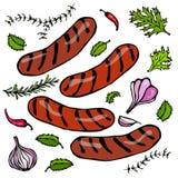 Gegrillte bayerische oder amerikanische Würste mit Chili Pepper, Zwiebel, Knoblauch, Thymian, Rosemary realistische Illustration  Lizenzfreie Stockfotos