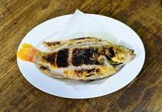 Gegrillte Fische mit Salz Stockfotos