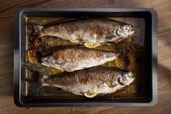 Gegrillte Fische mit Zitrone in der Wanne Lizenzfreie Stockfotos
