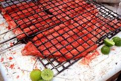 Gegrillte Fischfilet rote achiote Soße Maya Lizenzfreie Stockfotos
