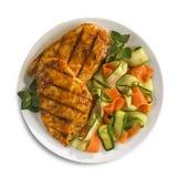 Gegrillte Hühnchen-Brust mit Gemüse lizenzfreie stockfotos