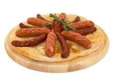 Gegrillte heiße Würste und Frankfurter auf dem pita Lizenzfreies Stockfoto