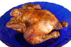 Gegrillte Henne auf Teller Stockfotos