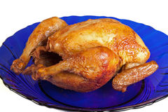 Gegrillte Henne auf Teller Stockbild