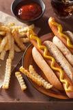 Gegrillte Hotdoge mit Senf und Pommes-Frites Stockfotos