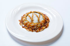 Gegrillte japanische Aale und Reis mit weißem indischem Sesam Stockfotografie