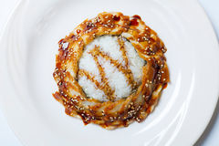 Gegrillte japanische Aale und Reis mit weißem indischem Sesam Lizenzfreie Stockfotos