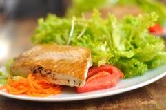 Gegrillte Lachse und Salat Lizenzfreies Stockbild