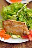 Gegrillte Lachse und Salat Lizenzfreies Stockfoto